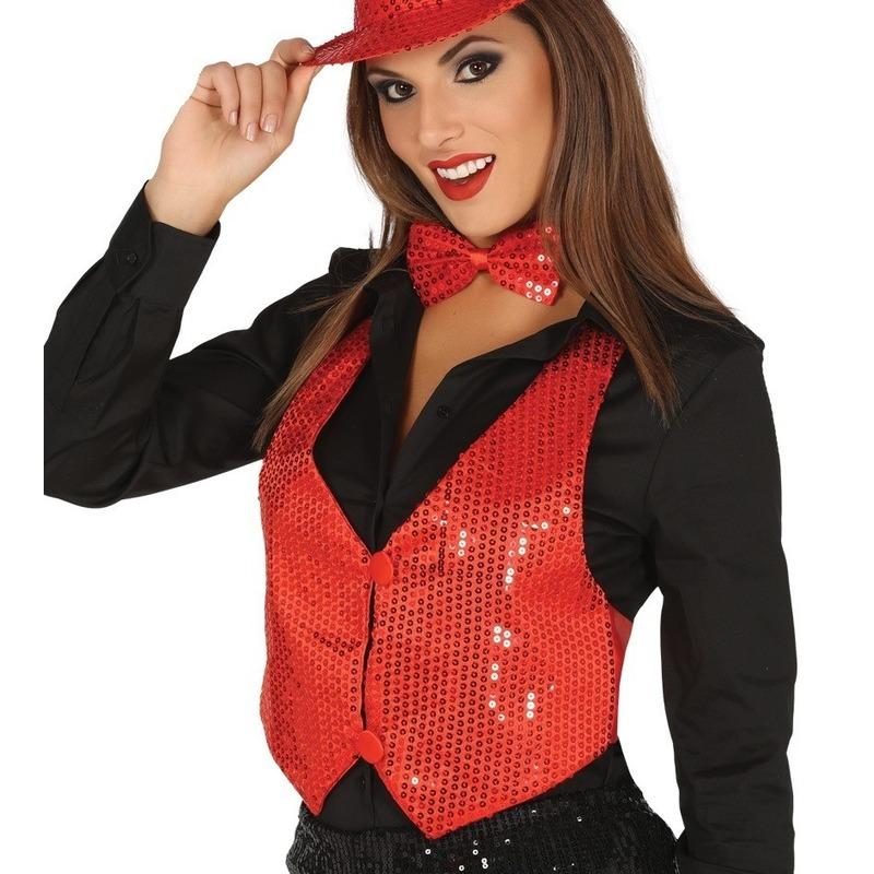 Rode verkleed gilet met pailletten voor dames