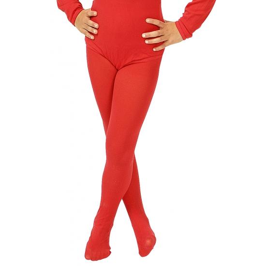 Rode verkleed panty/maillot voor meisjes/kinderen