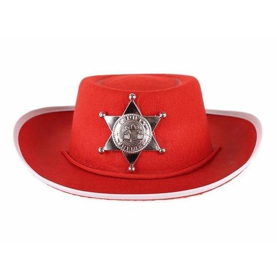 Merkloos Rode vilt cowboyhoed voor kinderen