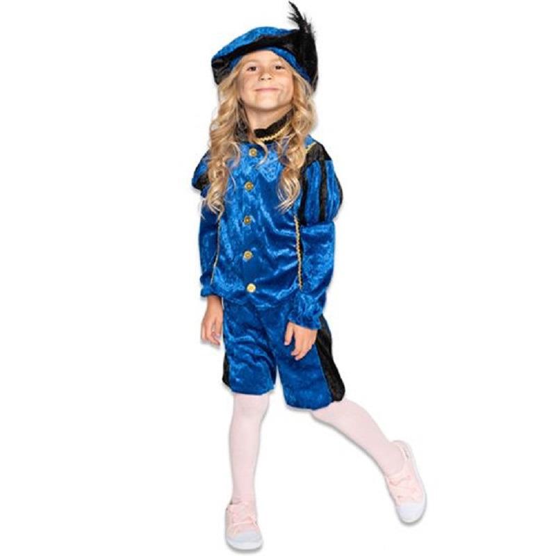 Merkloos Roetveeg Pieten kostuum blauw/zwart voor kinderen
