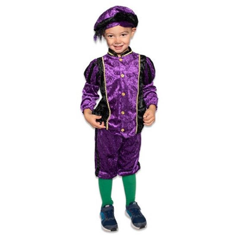 Merkloos Roetveeg Pieten kostuum paars/zwart voor kinderen