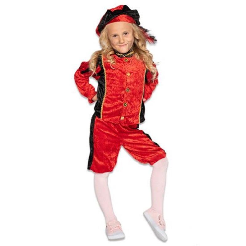 Merkloos Roetveeg Pieten kostuum rood/zwart voor kinderen