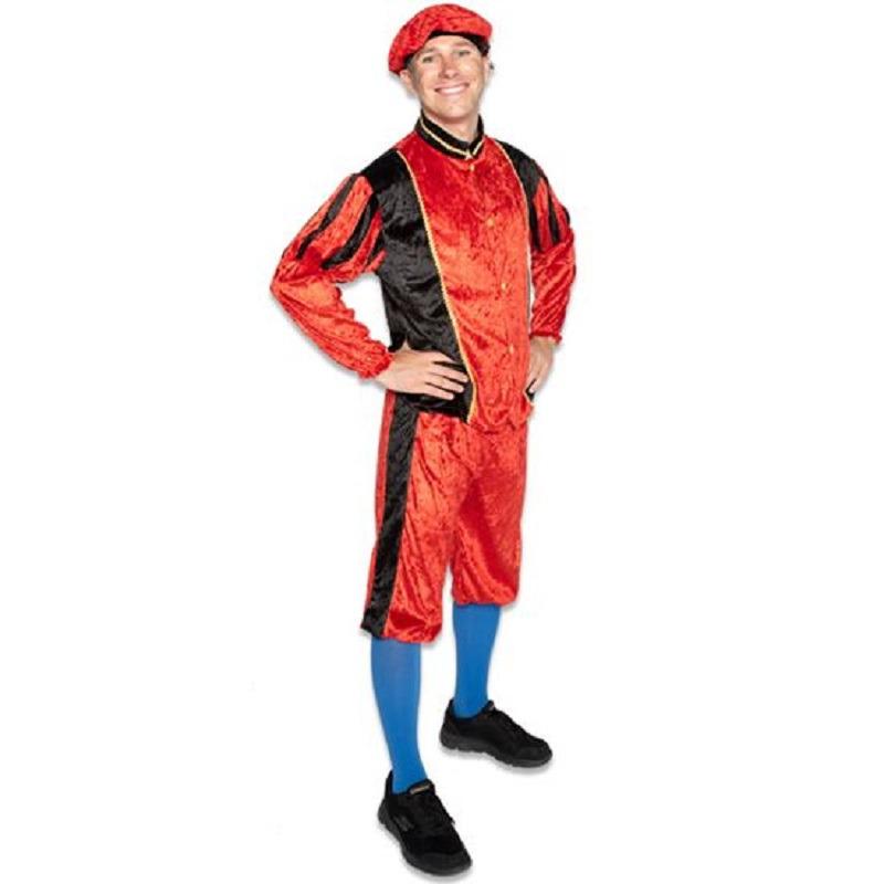 Merkloos Roetveeg Pieten kostuum rood/zwart voor volwassenen
