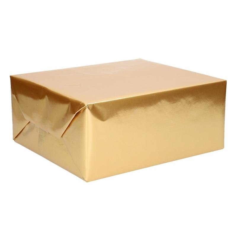 Rol cadeaupapier/inpakpapier uni goud 76 x 500 cm