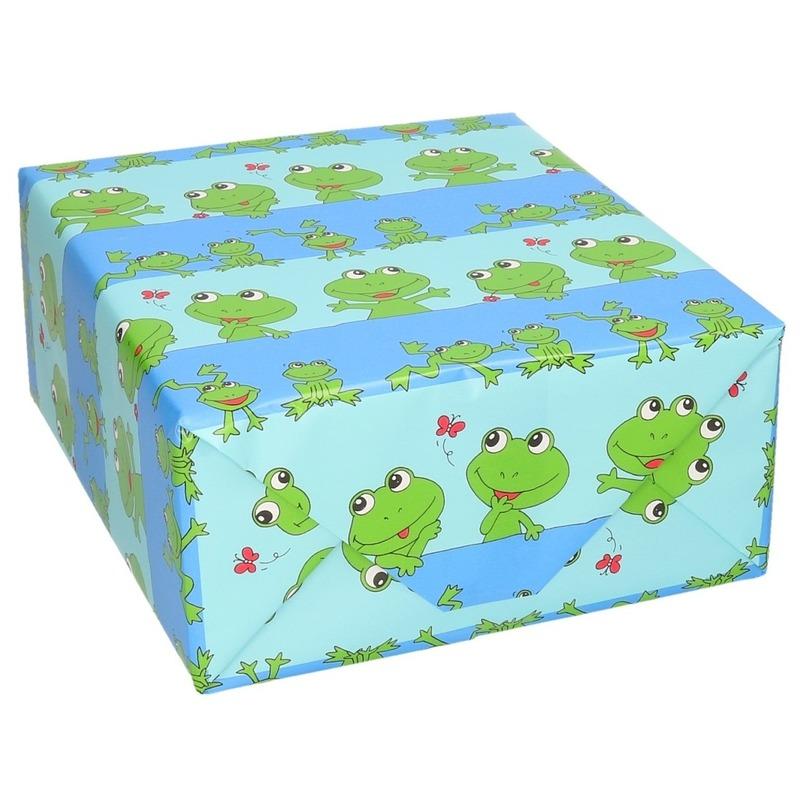 Rollen Inpakpapier/cadeaupapier blauw/groene kikkers print 200 x 70 cm