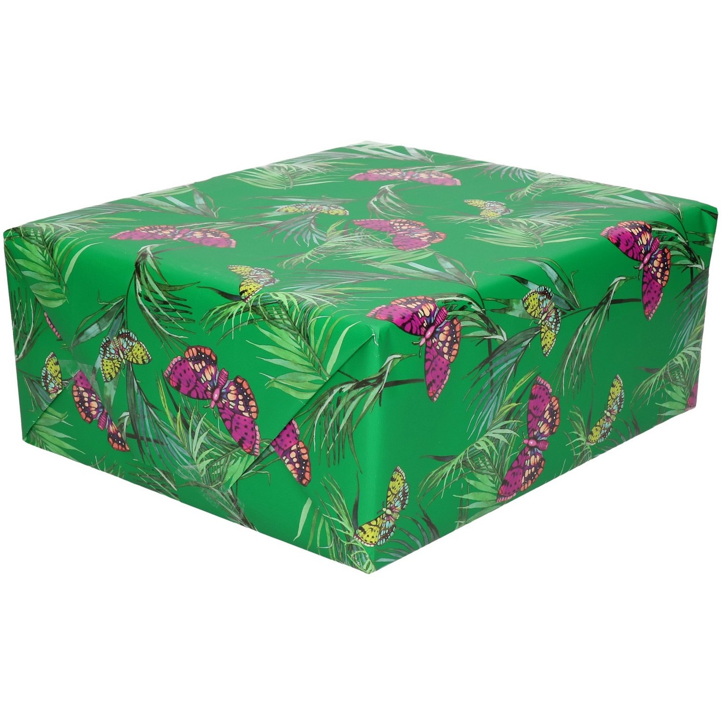 Rollen Inpakpapier/cadeaupapier groen met paarse vlinders 200 x 70 cm