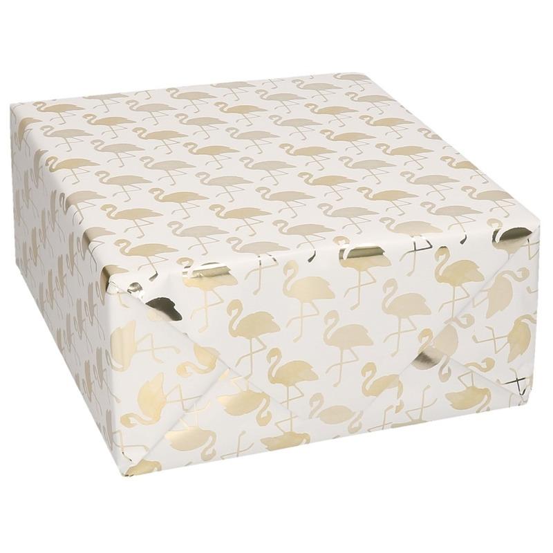Rollen Inpakpapier/cadeaupapier wit/gouden flamingos print 150 x 70 cm