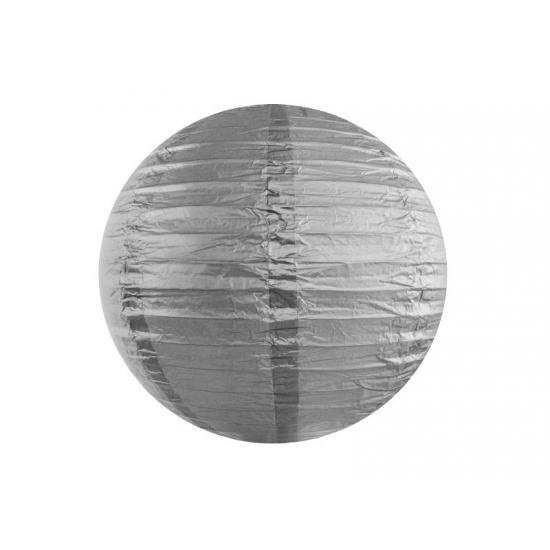 Ronde decoratie lampion zilver 35 cm