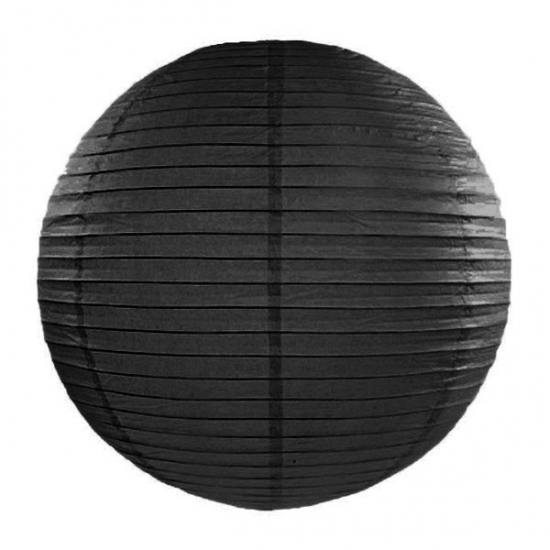 Ronde decoratie lampion zwart 35 cm