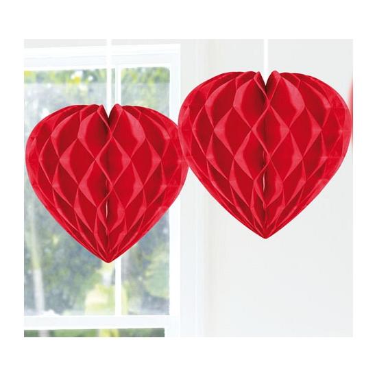 Rood hangend hart van papier 30 cm