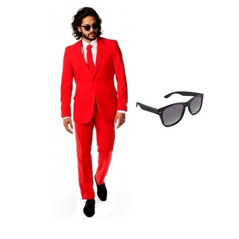 Rood heren kostuum maat 54 (2XL) met gratis zonnebril