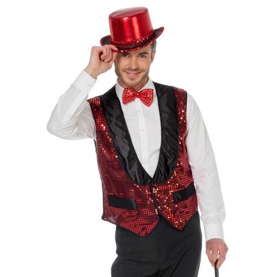 Rood heren vestje met glitters