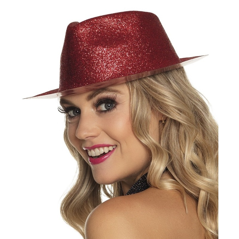 Merkloos Rood trilby hoedje met glitters voor dames