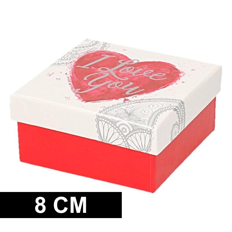 Rood/wit cadeaudoosje met hart 8 cm vierkant