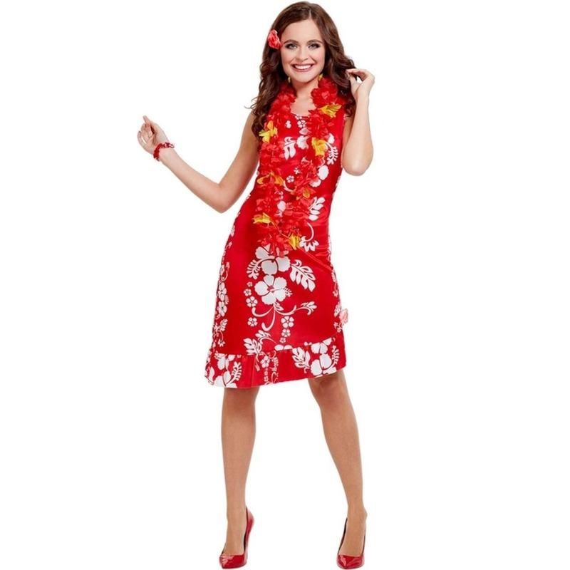 Rood/wit Hawaii verkleed kostuum/jurkje met accessoires dames