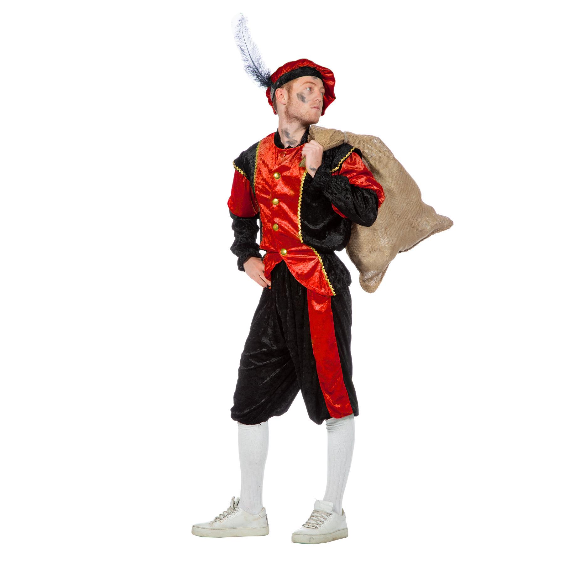 Merkloos Rood/zwart pieten kostuum budget