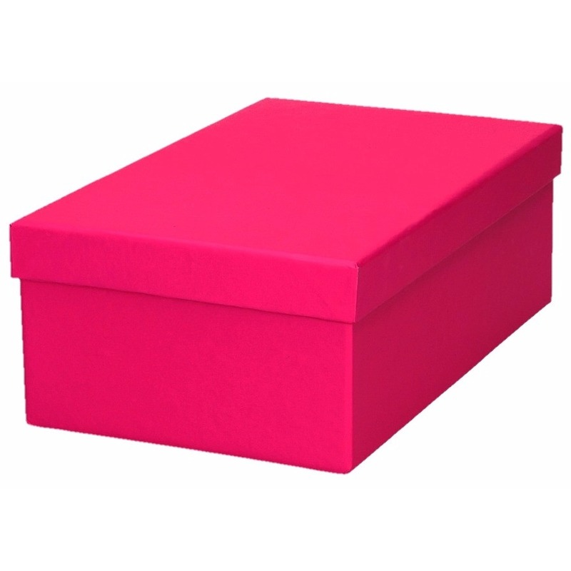 Roze cadeaudoosje 21 cm rechthoekig
