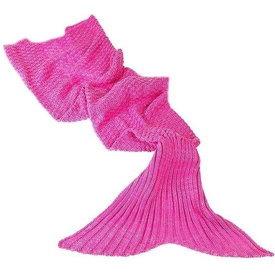 Roze gebreide zeemeermin deken volwassenen 180 cm