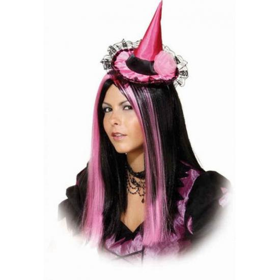 Merkloos Roze heksenhoedje met haarband