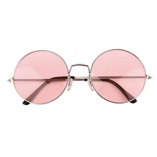 Roze hippie XL bril met grote glazen