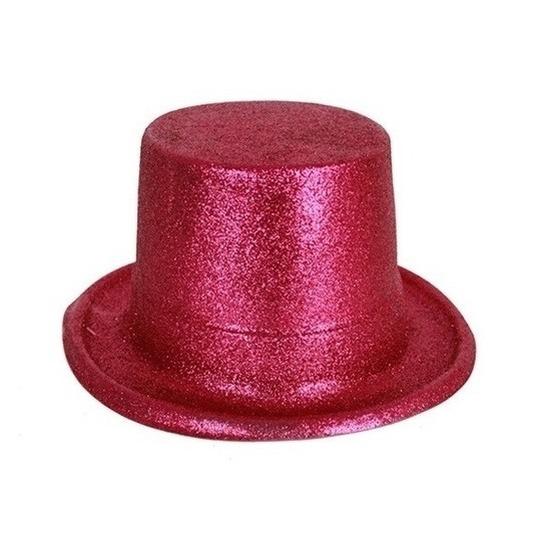 Merkloos Roze hoge hoed glitters voor volwassenen