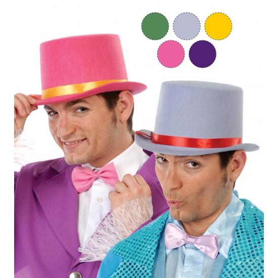 Roze hoge hoeden van vilt voor volwassenen