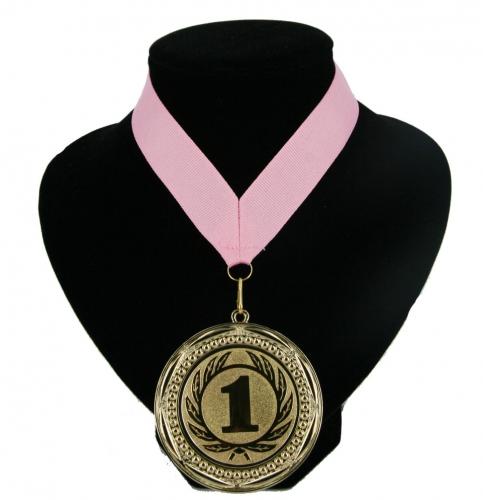 Roze lint met gouden medaille