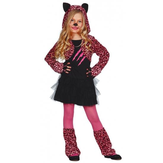 Roze luipaard carnaval - halloween jurkje voor meisjes