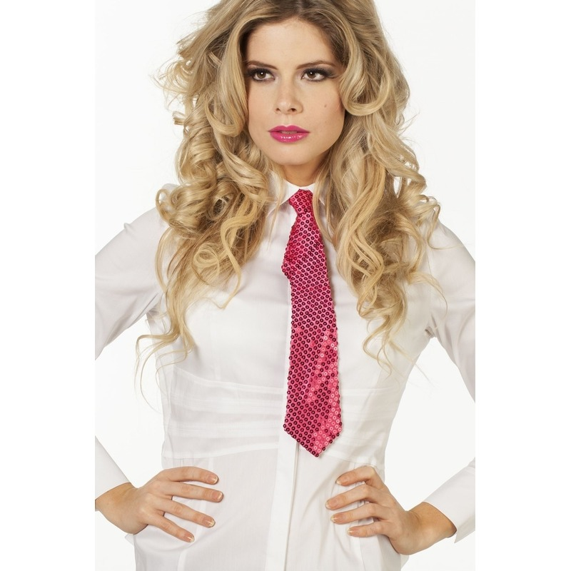 Roze stropdas met pailletten