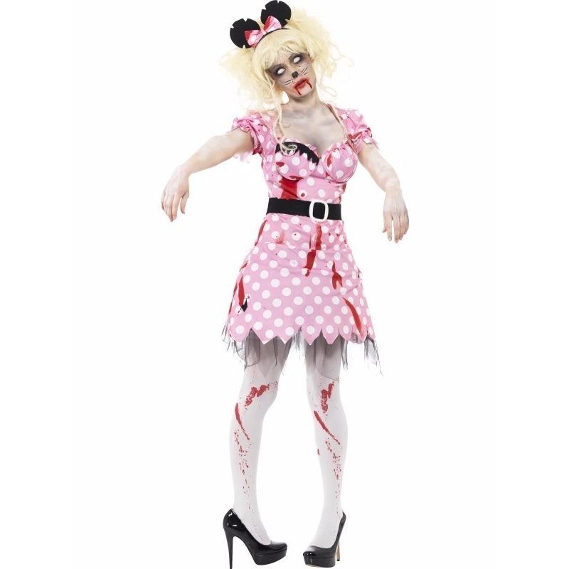 Roze zombie Minnie kostuum voor dames
