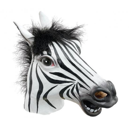 Rubberen luxe zebra masker