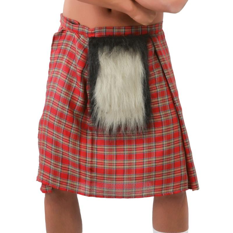 Schotse verkleed rokken/kilts rood met bontje voor heren