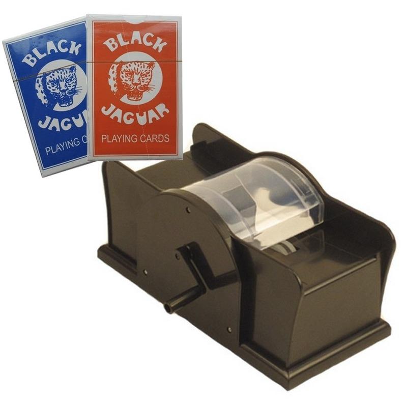 Set kaarten schudmachine met hendel - 2 pakjes speelkaarten