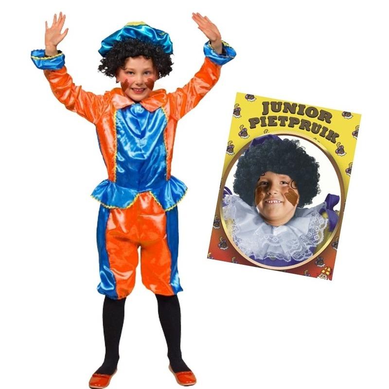 Set van blauw met oranje kids 3-4 jr pietenpak en pruik