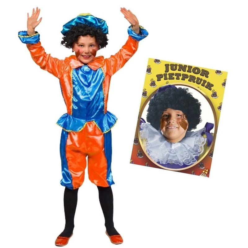 Merkloos Set van blauw met oranje kids 6-8 jr pietenpak en pruik