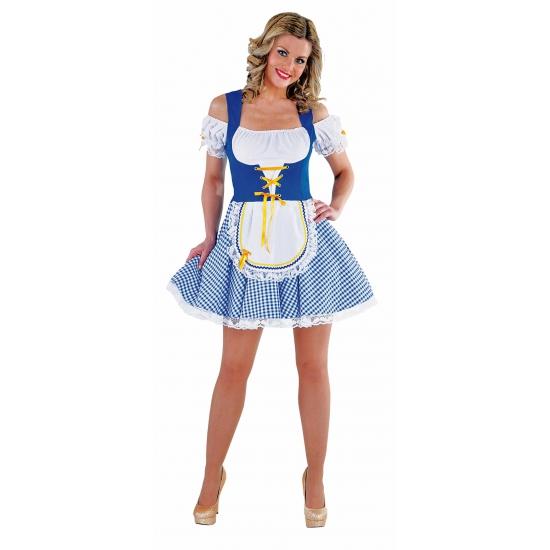 Sexy blauw/wit Tiroler dirndl verkleed kostuum/jurkje voor dames