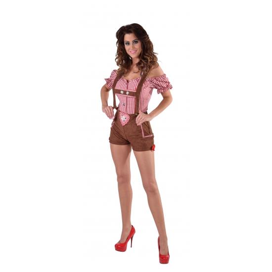 Sexy bruine Tiroler lederhosen kostuum/broekje voor dames