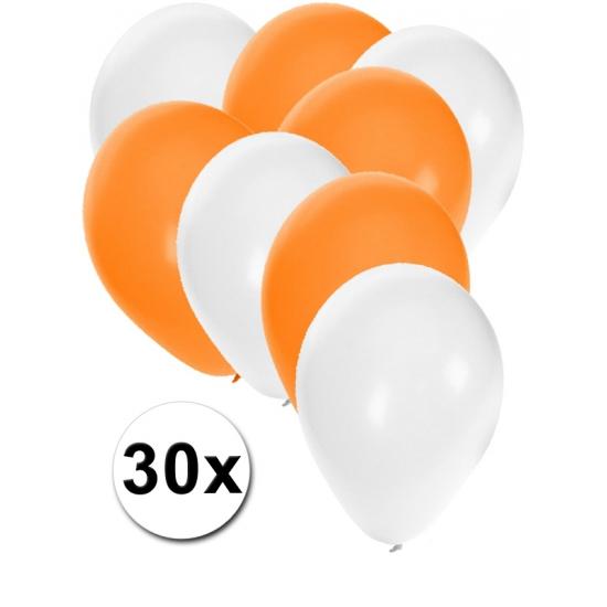 Sinterklaas ballonnen wit en oranje 30x