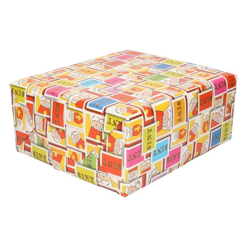 Sinterklaas inpakpapier/cadeaupapier gekleurd 2,5 x 0,7 meter