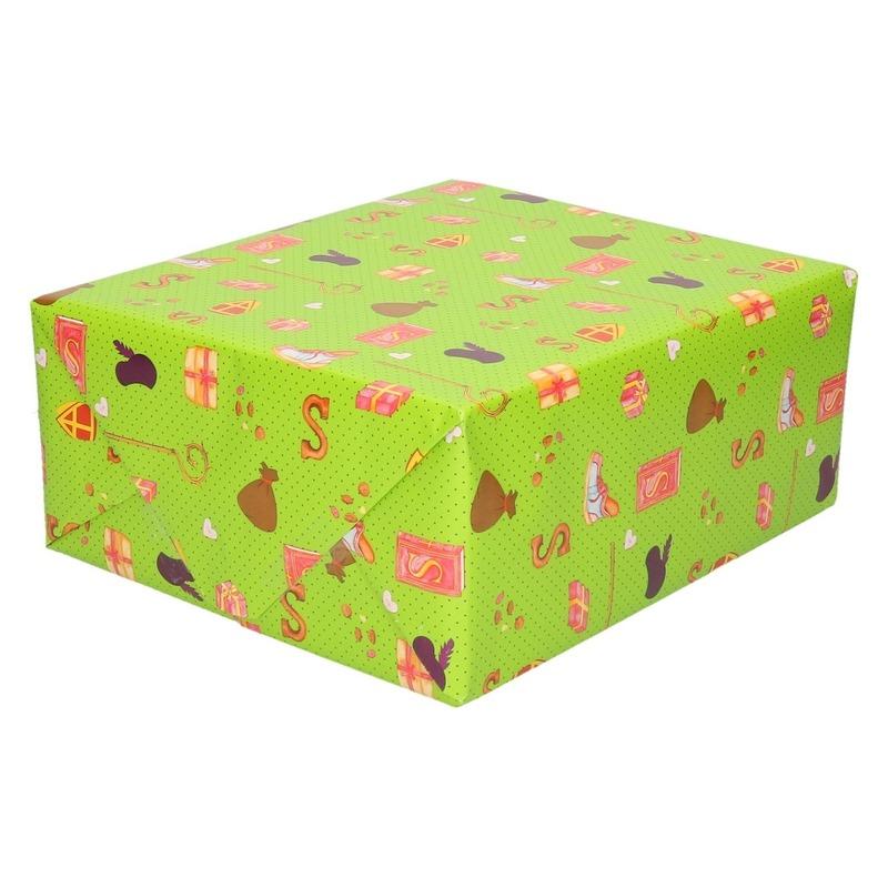 Sinterklaas inpakpapier/cadeaupapier print groen 2.5 x 0.7 meter