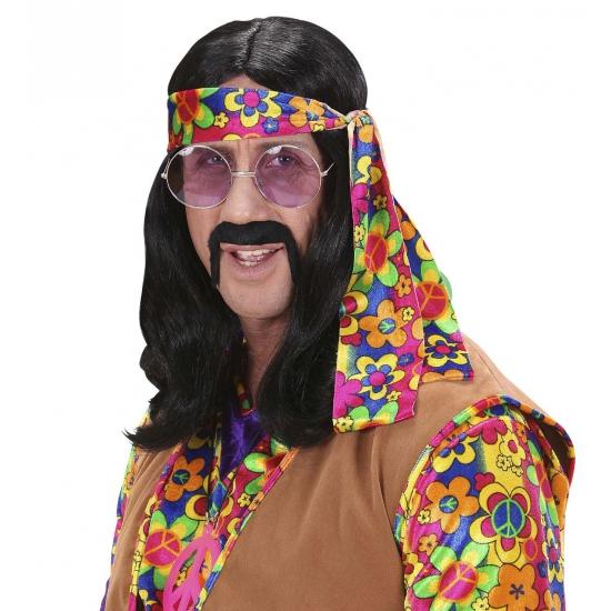 Sixties hippie pruik zwart