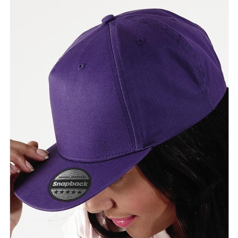 Snapback rapper cap - pet 5 pannel voor volwassenen paars