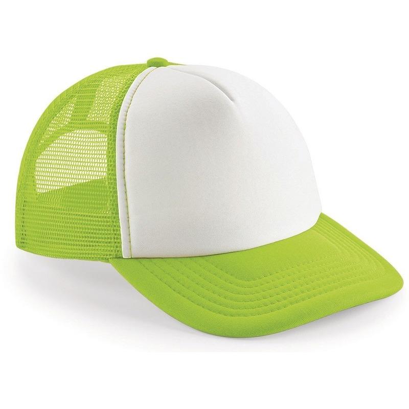 Snapback truckers pet lime groen/wit voor volwassenen