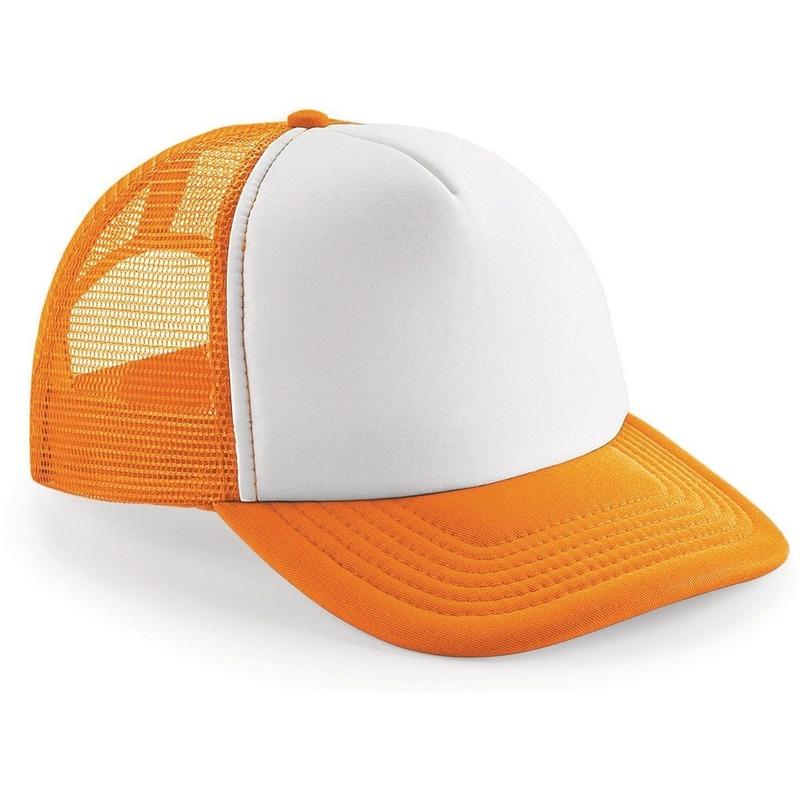 Snapback truckers pet oranje/wit voor volwassenen