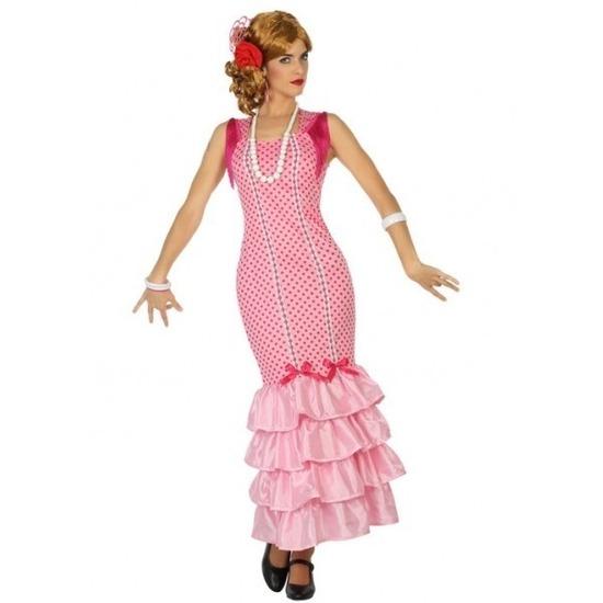 Spaanse flamencodanseres jurk roze verkleed kostuum voor dames