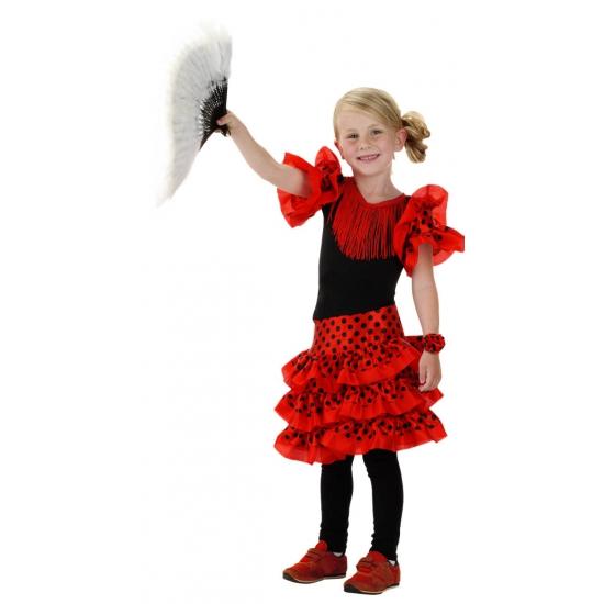 Merkloos Spaanse jurk rood voor meisjes