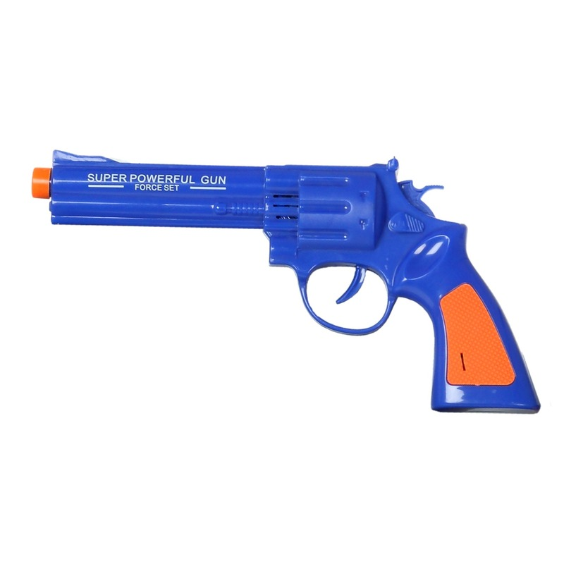 Speelgoed pistool blauw met geluid 23 x 11 cm
