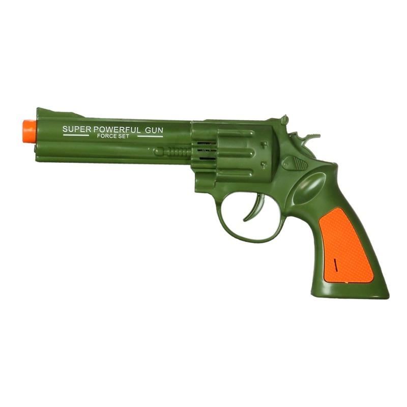 Speelgoed pistool groen met geluid 23 x 11 cm