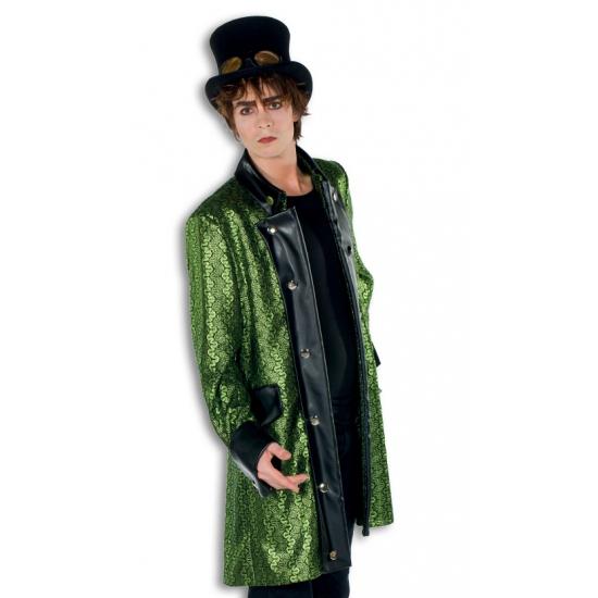 Steampunk verkleedkleding groene jas