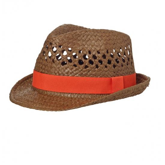 Stro rood/oranje trilby hoedje